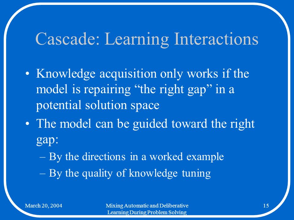 March 20, 2004Mixing Automatic and Deliberative Learning During Problem Solving 15 Cascade: Learning Interactions Knowledge acquisition only works if the model is repairing the right gap in a potential solution space The model can be guided toward the right gap: –By the directions in a worked example –By the quality of knowledge tuning