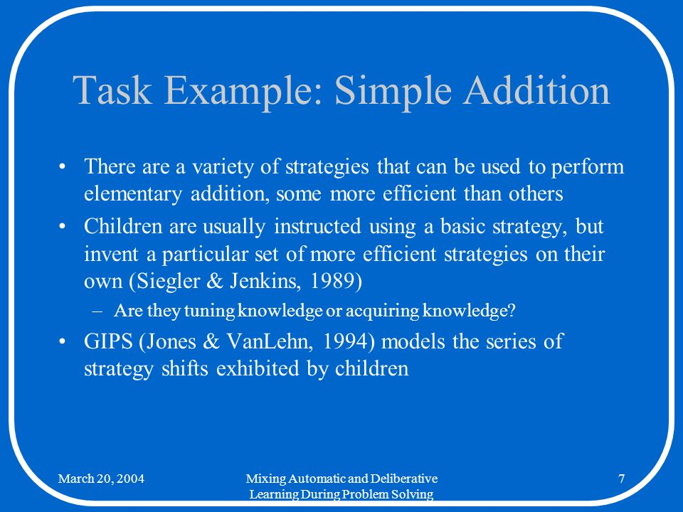 March 20, 2004Mixing Automatic and Deliberative Learning During Problem Solving 18 GIPS: Typical Problem Sum Strategy