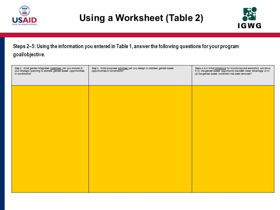 Using a Worksheet (Table 2) Step 2. What gender-integrated objectives can you include in your strategic planning to address gender-based opportunities