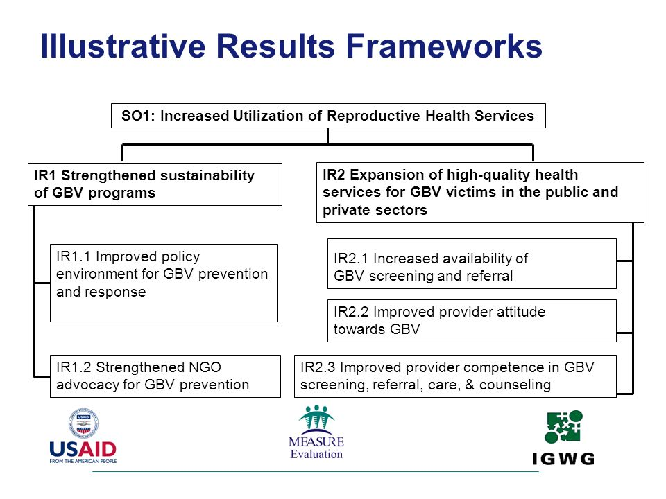 IR1 Strengthened sustainability of GBV programs IR1.1 Improved policy environment for GBV prevention and response IR1.2 Strengthened NGO advocacy for