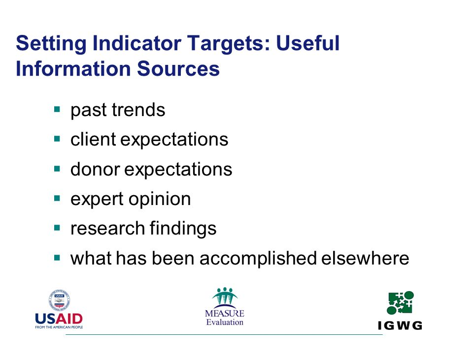 Setting Indicator Targets: Useful Information Sources past trends client expectations donor expectations expert opinion research findings what has bee