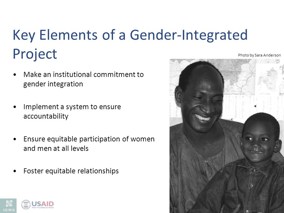 Key Elements of a Gender-Integrated Project Make an institutional commitment to gender integration Implement a system to ensure accountability Ensure
