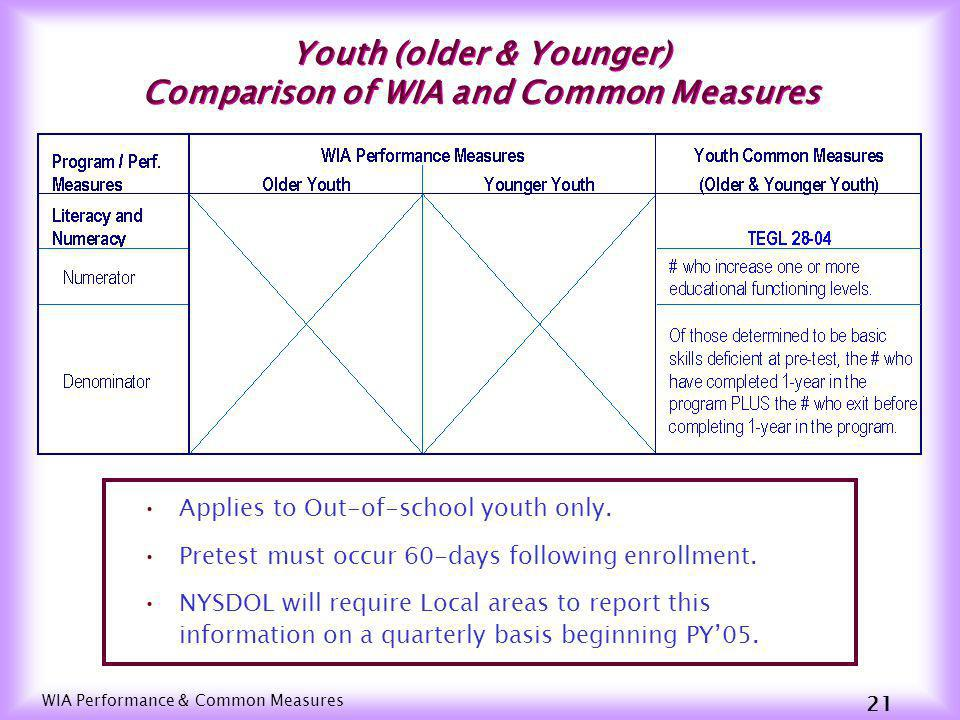 WIA Performance & Common Measures 20 Youth (Older & Younger) Comparison of WIA and Common Measures