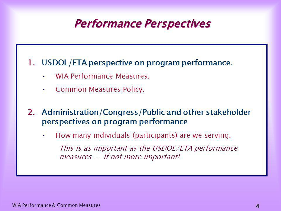 WIA Performance & Common Measures 24 The End Thank you!