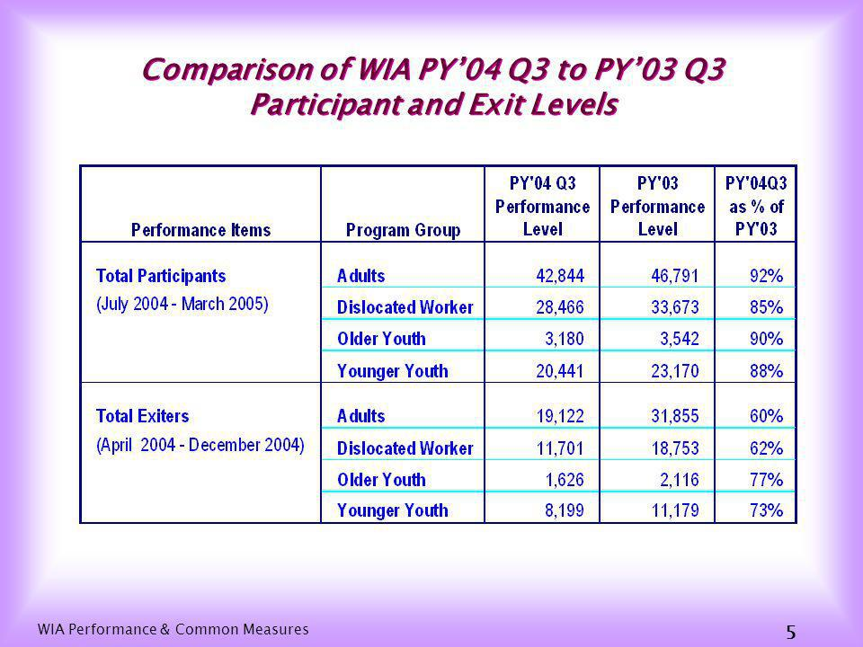 WIA Performance & Common Measures 5 Comparison of WIA PY04 Q3 to PY03 Q3 Participant and Exit Levels