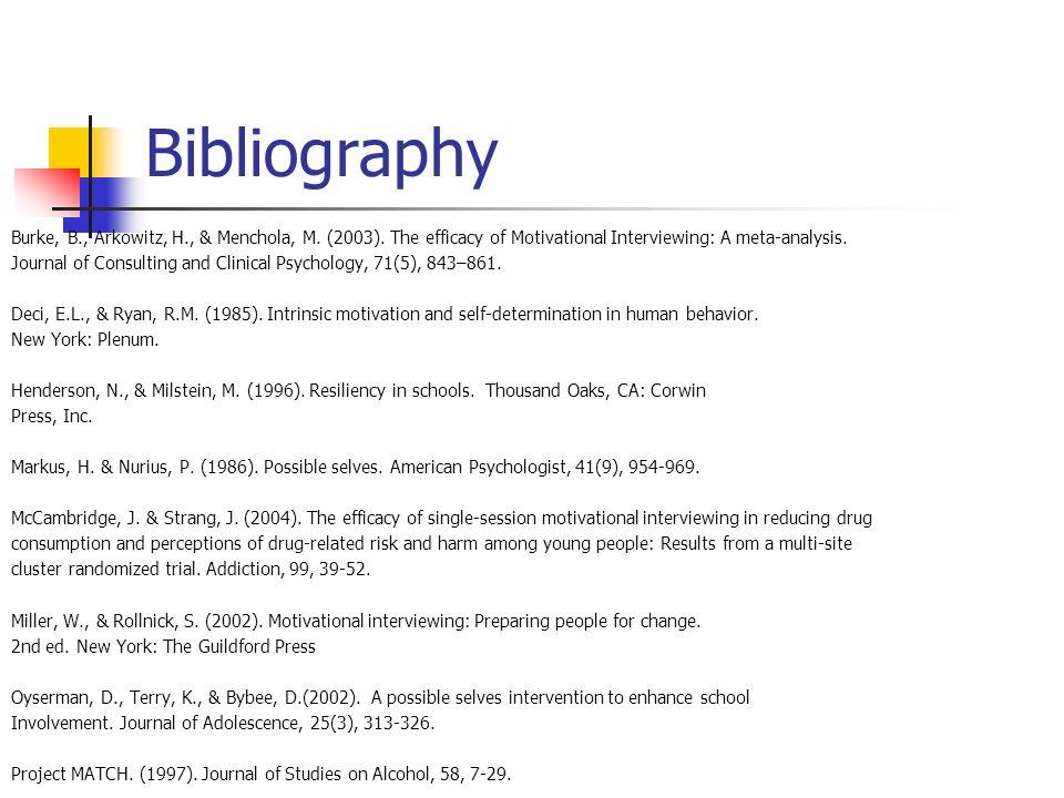 Bibliography Burke, B., Arkowitz, H., & Menchola, M.