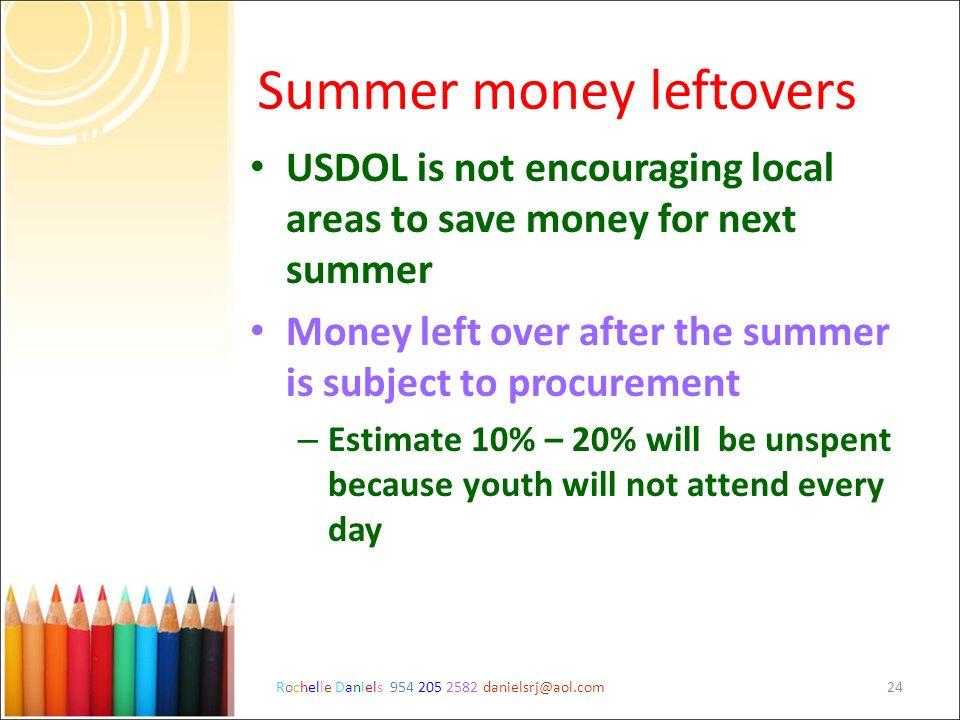 Rochelle Daniels 954 205 2582 danielsrj@aol.com24 Summer money leftovers USDOL is not encouraging local areas to save money for next summer Money left