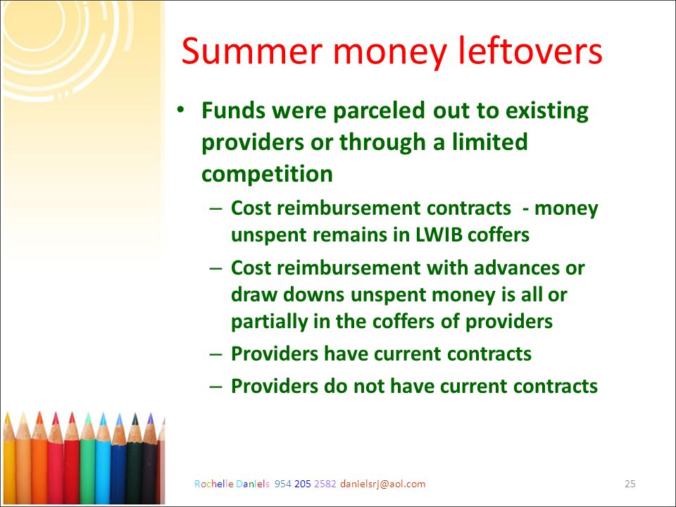Rochelle Daniels 954 205 2582 danielsrj@aol.com25 Summer money leftovers Funds were parceled out to existing providers or through a limited competitio