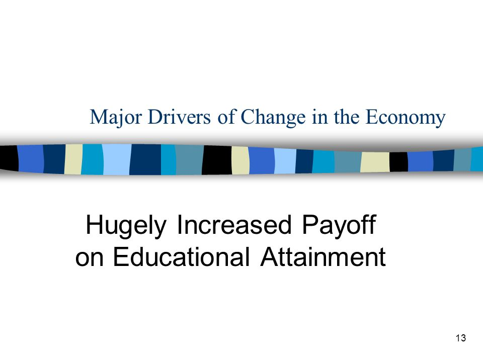 13 Major Drivers of Change in the Economy Hugely Increased Payoff on Educational Attainment