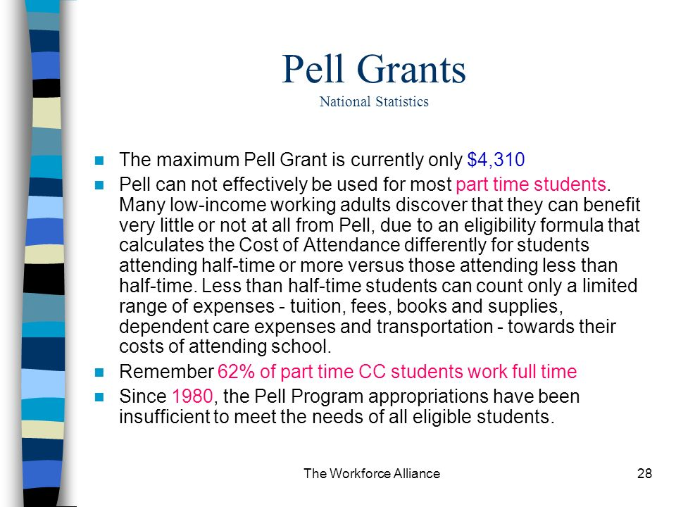 The Workforce Alliance28 Pell Grants National Statistics The maximum Pell Grant is currently only $4,310 Pell can not effectively be used for most part time students.