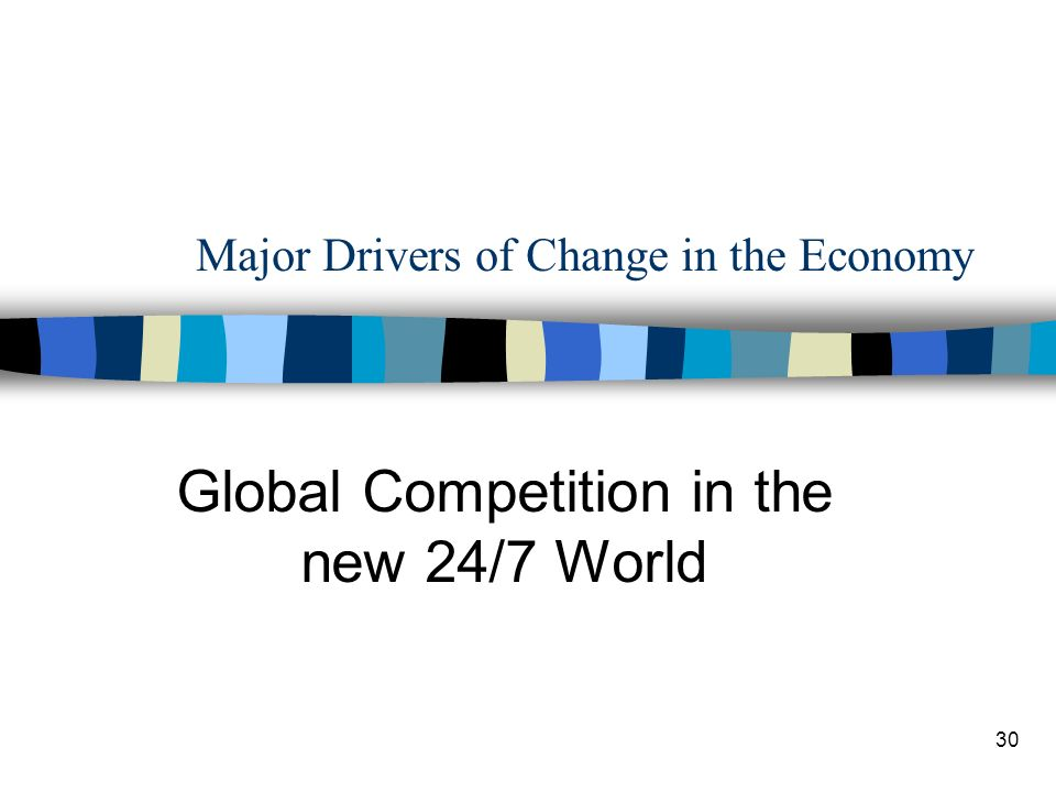 30 Major Drivers of Change in the Economy Global Competition in the new 24/7 World