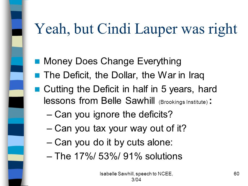 Isabelle Sawhill, speech to NCEE, 3/04 60 Yeah, but Cindi Lauper was right Money Does Change Everything The Deficit, the Dollar, the War in Iraq Cutting the Deficit in half in 5 years, hard lessons from Belle Sawhill (Brookings Institute) : –Can you ignore the deficits.