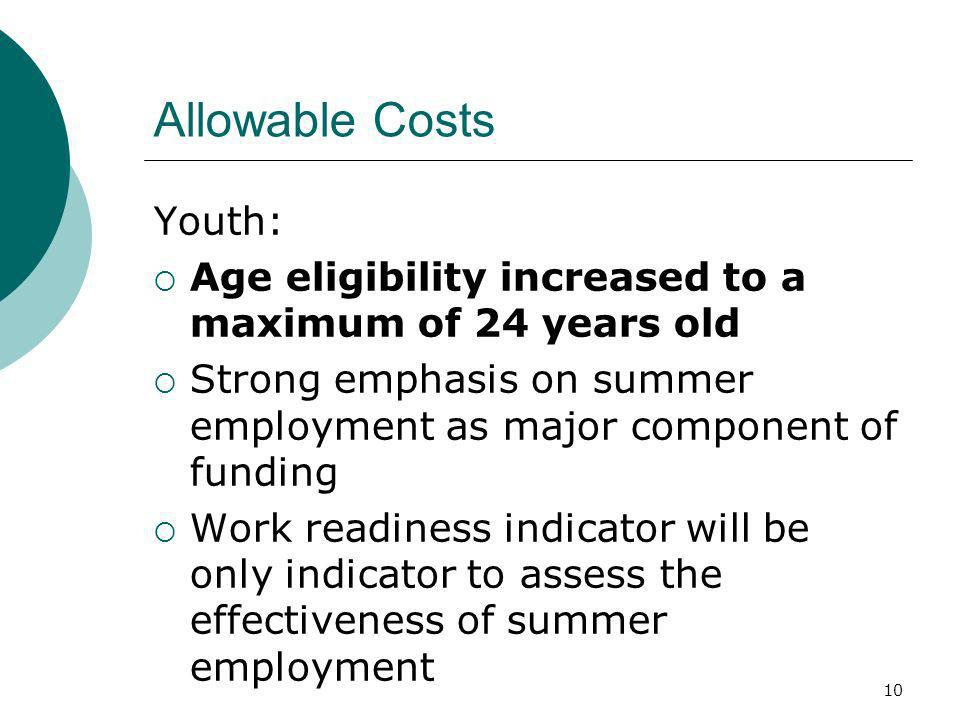 10 Allowable Costs Youth: Age eligibility increased to a maximum of 24 years old Strong emphasis on summer employment as major component of funding Work readiness indicator will be only indicator to assess the effectiveness of summer employment