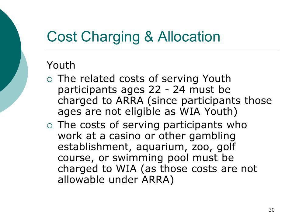 30 Cost Charging & Allocation Youth The related costs of serving Youth participants ages must be charged to ARRA (since participants those ages are not eligible as WIA Youth) The costs of serving participants who work at a casino or other gambling establishment, aquarium, zoo, golf course, or swimming pool must be charged to WIA (as those costs are not allowable under ARRA)