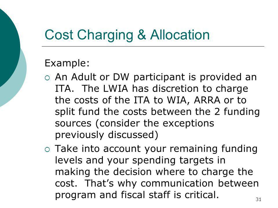 31 Cost Charging & Allocation Example: An Adult or DW participant is provided an ITA.