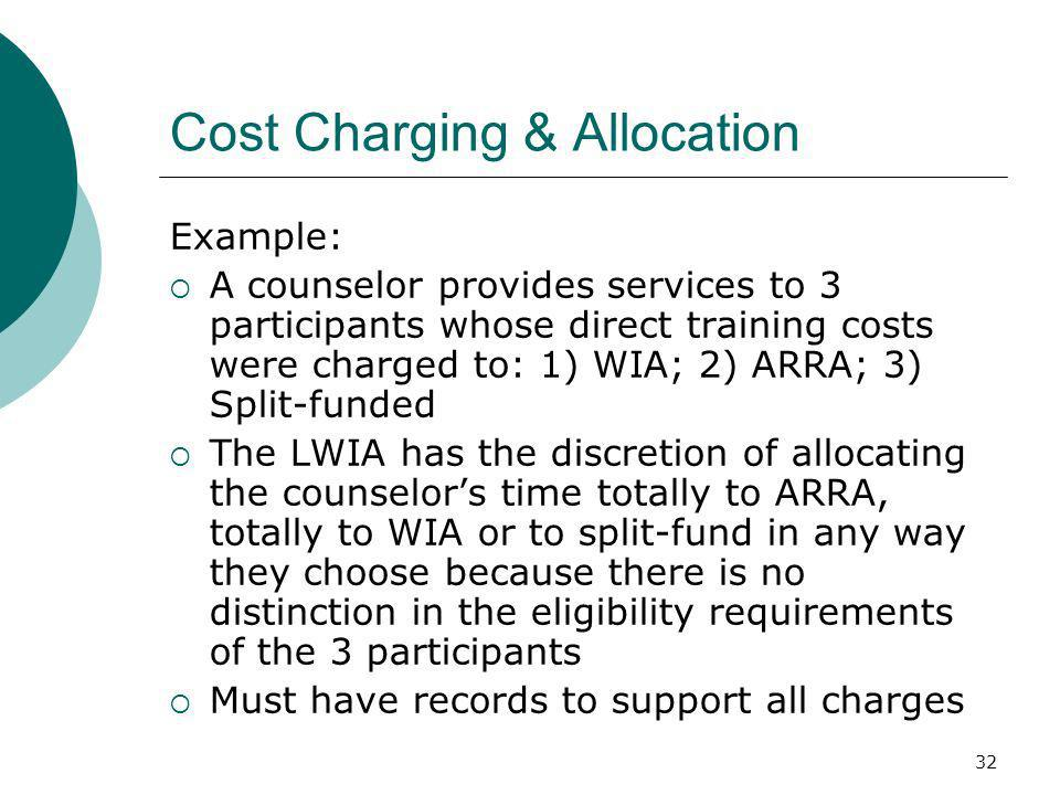 32 Cost Charging & Allocation Example: A counselor provides services to 3 participants whose direct training costs were charged to: 1) WIA; 2) ARRA; 3) Split-funded The LWIA has the discretion of allocating the counselors time totally to ARRA, totally to WIA or to split-fund in any way they choose because there is no distinction in the eligibility requirements of the 3 participants Must have records to support all charges