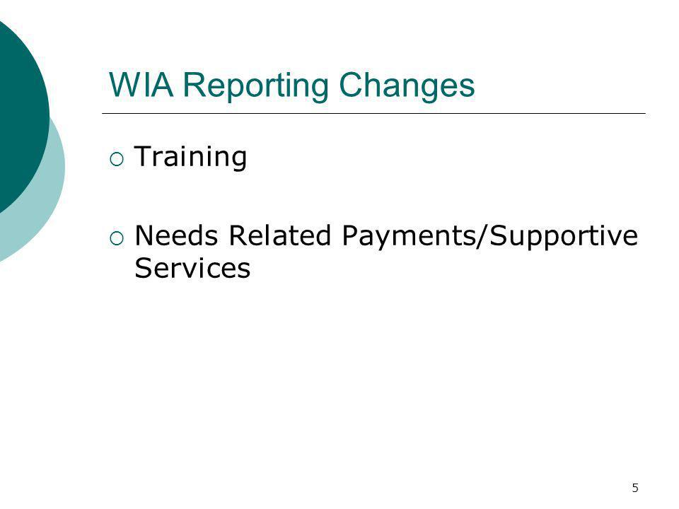 5 WIA Reporting Changes Training Needs Related Payments/Supportive Services