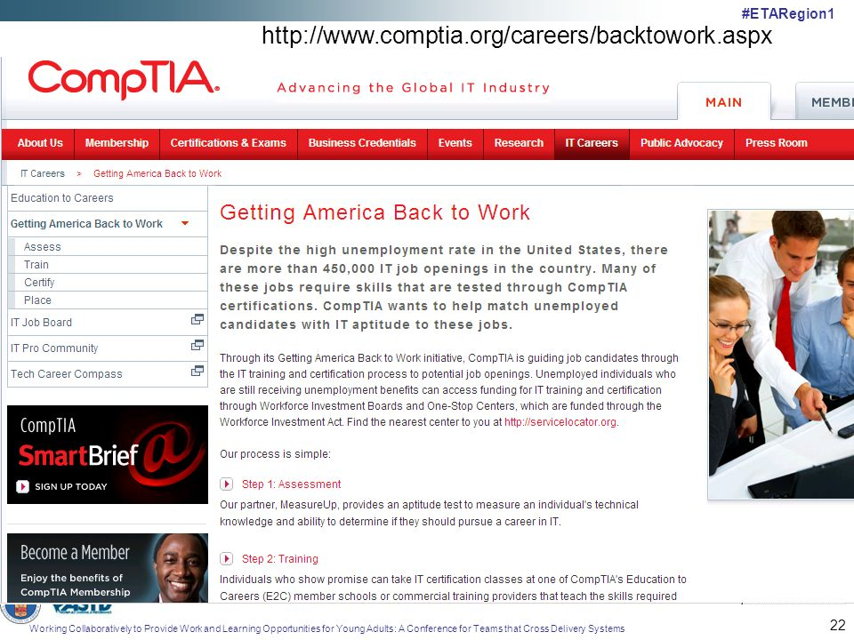 Working Collaboratively to Provide Work and Learning Opportunities for Young Adults: A Conference for Teams that Cross Delivery Systems #ETARegion1 22 http://www.comptia.org/careers/backtowork.aspx