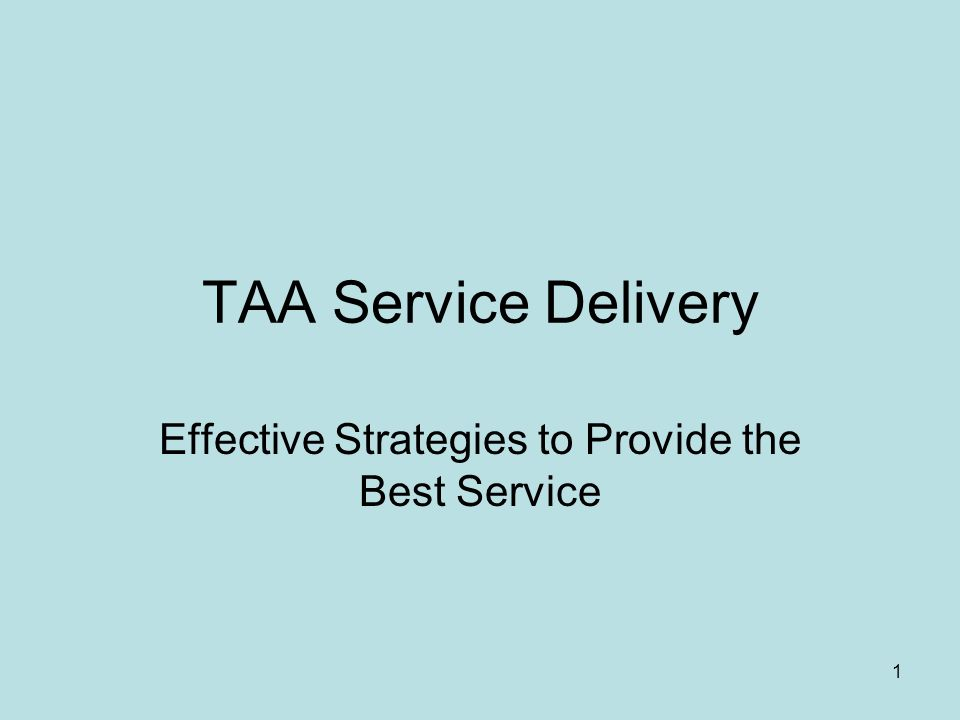 1 TAA Service Delivery Effective Strategies to Provide the Best Service