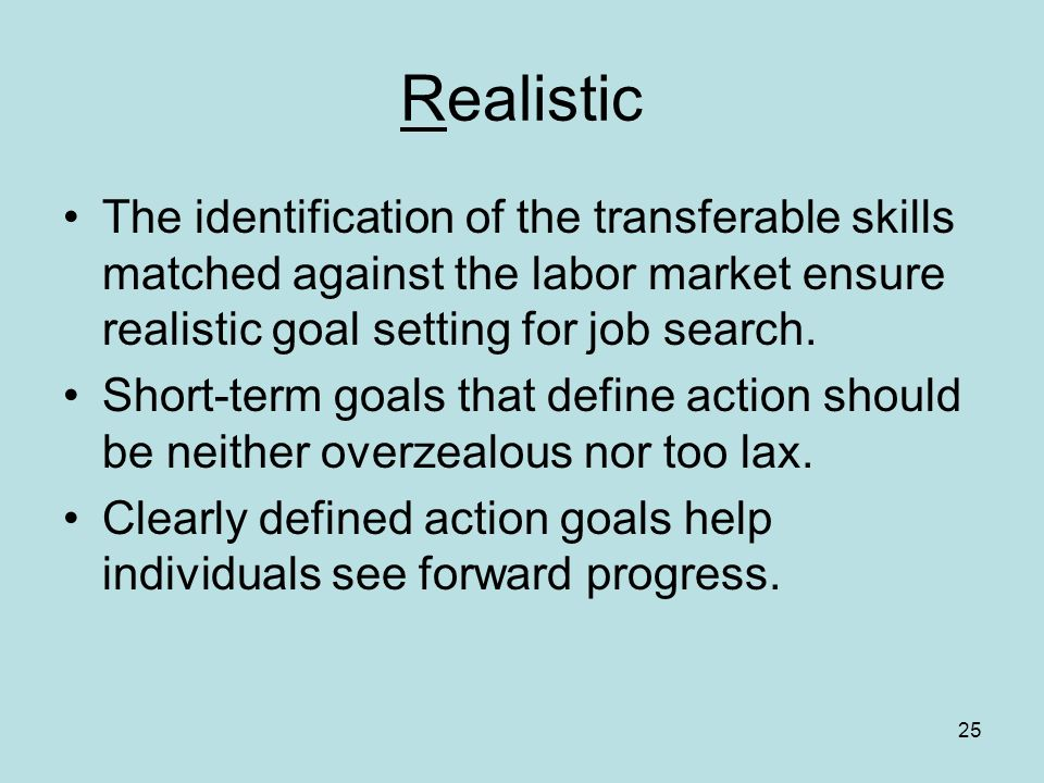 25 Realistic The identification of the transferable skills matched against the labor market ensure realistic goal setting for job search.