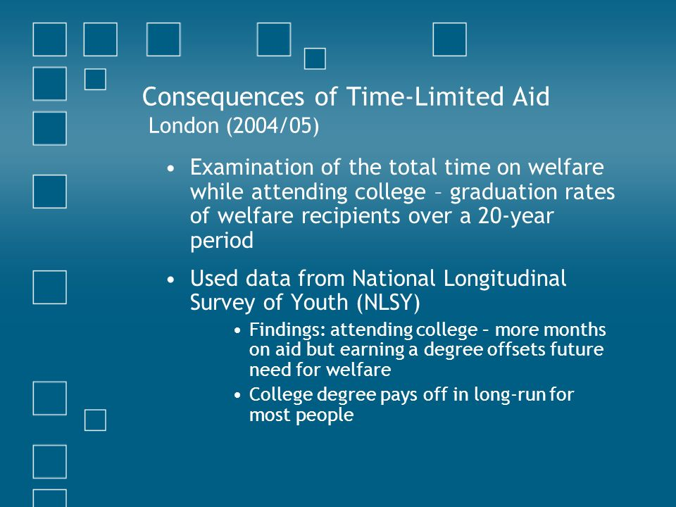 Consequences of Time-Limited Aid London (2004/05) Examination of the total time on welfare while attending college – graduation rates of welfare recipients over a 20-year period Used data from National Longitudinal Survey of Youth (NLSY) Findings: attending college – more months on aid but earning a degree offsets future need for welfare College degree pays off in long-run for most people