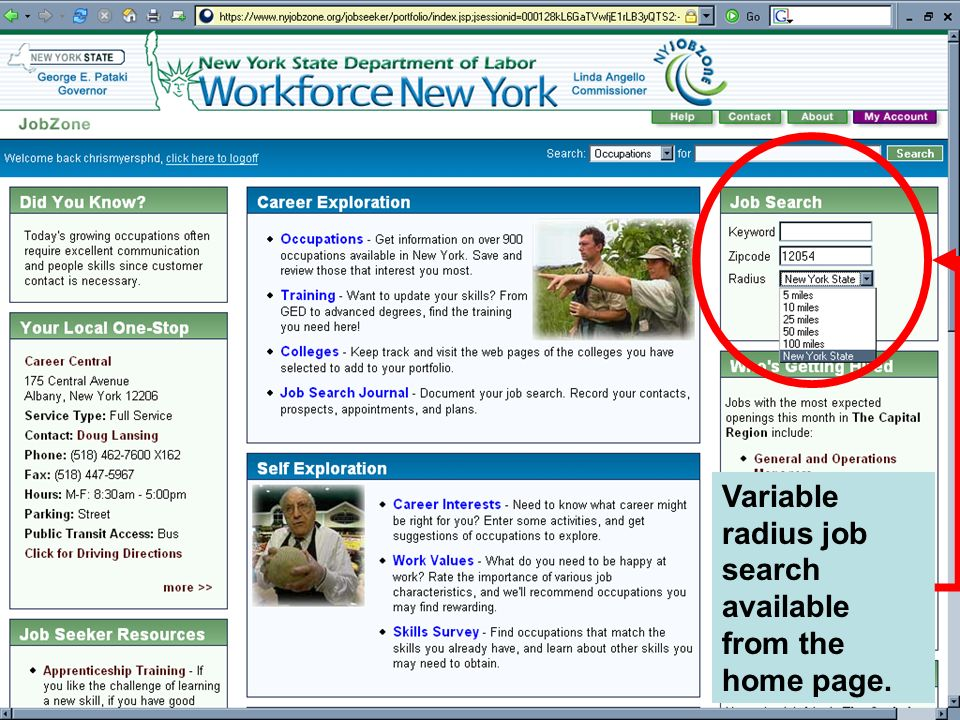 Variable radius job search available from the home page.