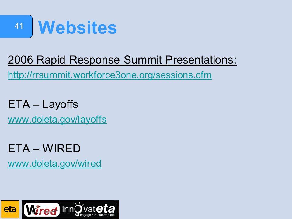 41 Websites 2006 Rapid Response Summit Presentations: http://rrsummit.workforce3one.org/sessions.cfm ETA – Layoffs www.doleta.gov/layoffs ETA – WIRED www.doleta.gov/wired