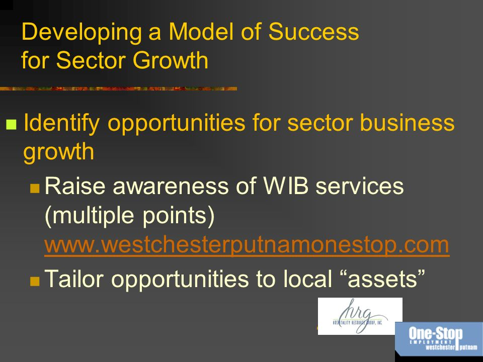 Developing a Model of Success for Sector Growth Identify opportunities for sector business growth Raise awareness of WIB services (multiple points) www.westchesterputnamonestop.com www.westchesterputnamonestop.com Tailor opportunities to local assets