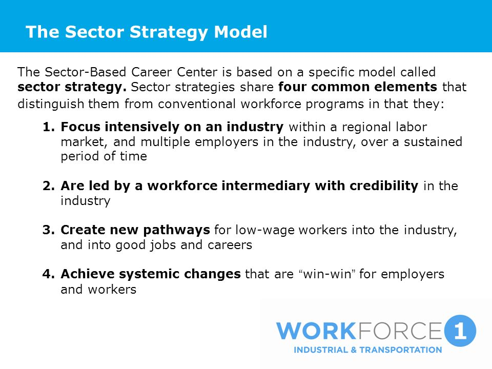 The Sector Strategy Model The Sector-Based Career Center is based on a specific model called sector strategy. Sector strategies share four common elem