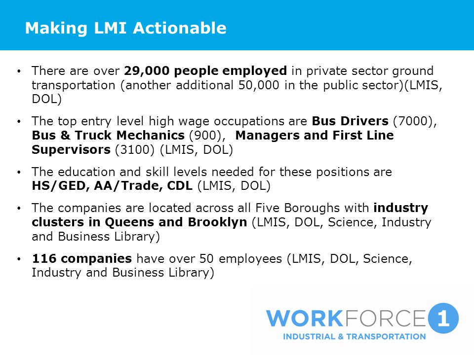 Making LMI Actionable There are over 29,000 people employed in private sector ground transportation (another additional 50,000 in the public sector)(LMIS, DOL) The top entry level high wage occupations are Bus Drivers (7000), Bus & Truck Mechanics (900), Managers and First Line Supervisors (3100) (LMIS, DOL) The education and skill levels needed for these positions are HS/GED, AA/Trade, CDL (LMIS, DOL) The companies are located across all Five Boroughs with industry clusters in Queens and Brooklyn (LMIS, DOL, Science, Industry and Business Library) 116 companies have over 50 employees (LMIS, DOL, Science, Industry and Business Library)