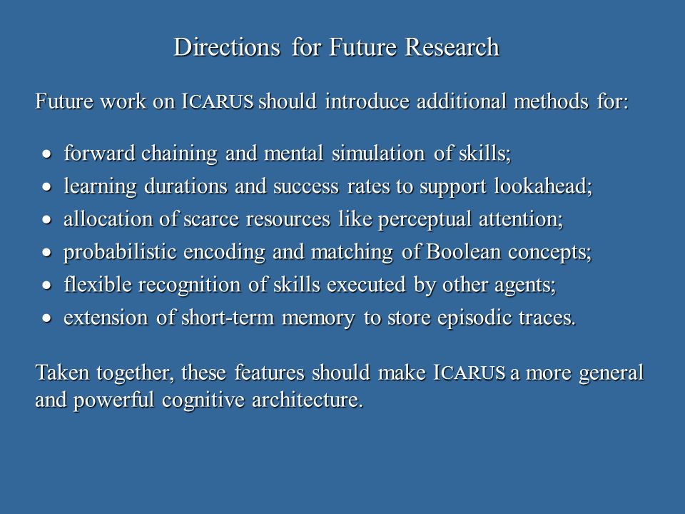 Directions for Future Research forward chaining and mental simulation of skills; forward chaining and mental simulation of skills; learning durations and success rates to support lookahead; learning durations and success rates to support lookahead; allocation of scarce resources like perceptual attention; allocation of scarce resources like perceptual attention; probabilistic encoding and matching of Boolean concepts; probabilistic encoding and matching of Boolean concepts; flexible recognition of skills executed by other agents; flexible recognition of skills executed by other agents; extension of short-term memory to store episodic traces.