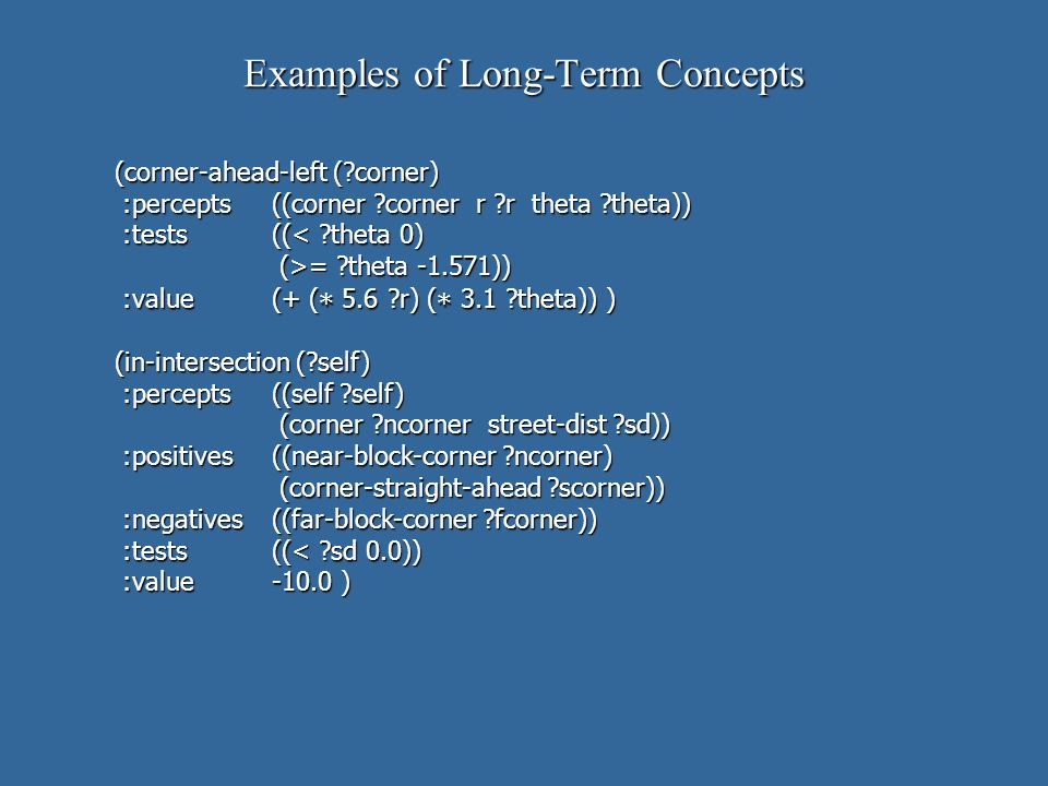 Examples of Long-Term Concepts (corner-ahead-left ( corner) :percepts((corner corner r r theta theta)) :percepts((corner corner r r theta theta)) :tests((< theta 0) :tests((< theta 0) (>= theta -1.571)) (>= theta -1.571)) :value(+ ( * 5.6 r) ( * 3.1 theta)) ) :value(+ ( * 5.6 r) ( * 3.1 theta)) ) (in-intersection ( self) :percepts((self self) :percepts((self self) (corner ncorner street-dist sd)) (corner ncorner street-dist sd)) :positives((near-block-corner ncorner) :positives((near-block-corner ncorner) (corner-straight-ahead scorner)) (corner-straight-ahead scorner)) :negatives((far-block-corner fcorner)) :negatives((far-block-corner fcorner)) :tests((< sd 0.0)) :tests((< sd 0.0)) :value-10.0 ) :value-10.0 )