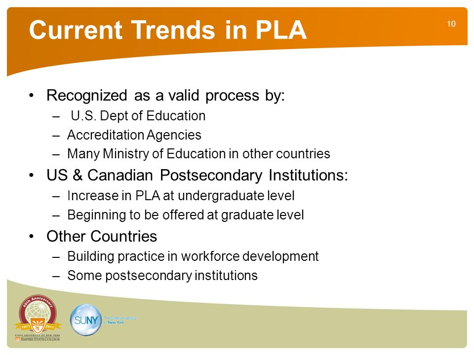 10 Current Trends in PLA Recognized as a valid process by: – U.S.