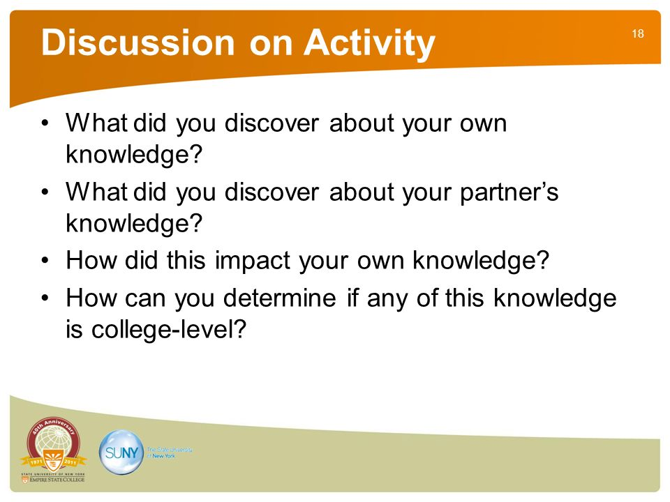 18 Discussion on Activity What did you discover about your own knowledge.