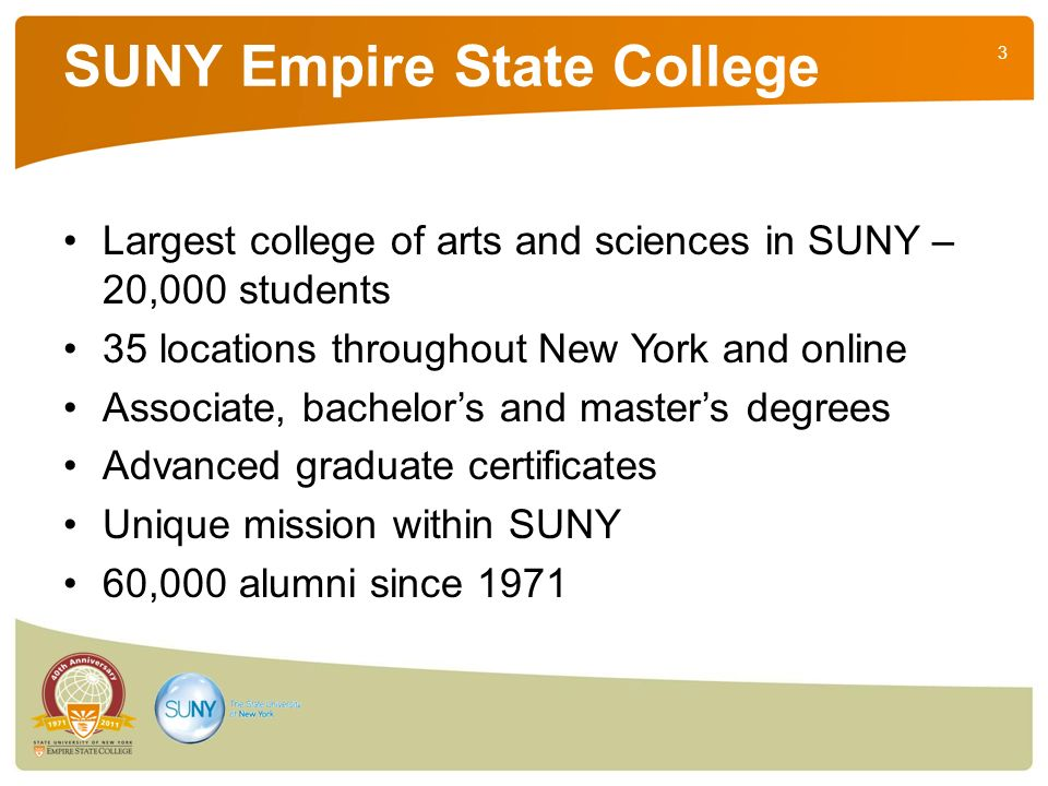3 SUNY Empire State College Largest college of arts and sciences in SUNY – 20,000 students 35 locations throughout New York and online Associate, bachelors and masters degrees Advanced graduate certificates Unique mission within SUNY 60,000 alumni since 1971