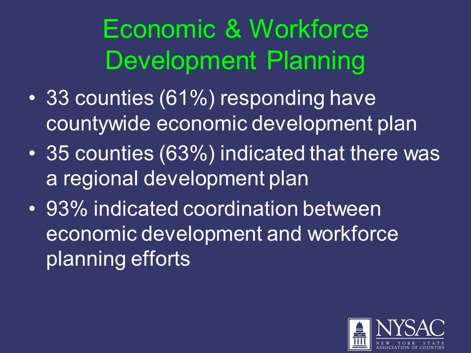 Economic & Workforce Development Planning 33 counties (61%) responding have countywide economic development plan 35 counties (63%) indicated that there was a regional development plan 93% indicated coordination between economic development and workforce planning efforts