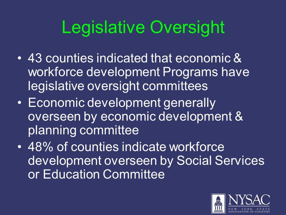 Legislative Oversight 43 counties indicated that economic & workforce development Programs have legislative oversight committees Economic development