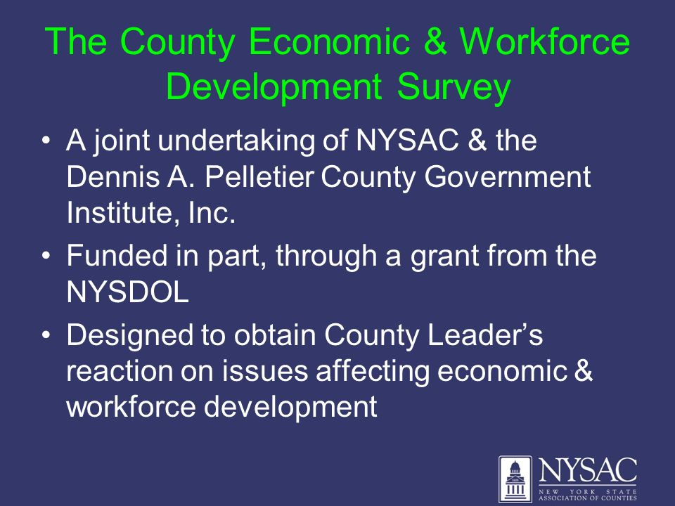 The County Economic & Workforce Development Survey A joint undertaking of NYSAC & the Dennis A. Pelletier County Government Institute, Inc. Funded in