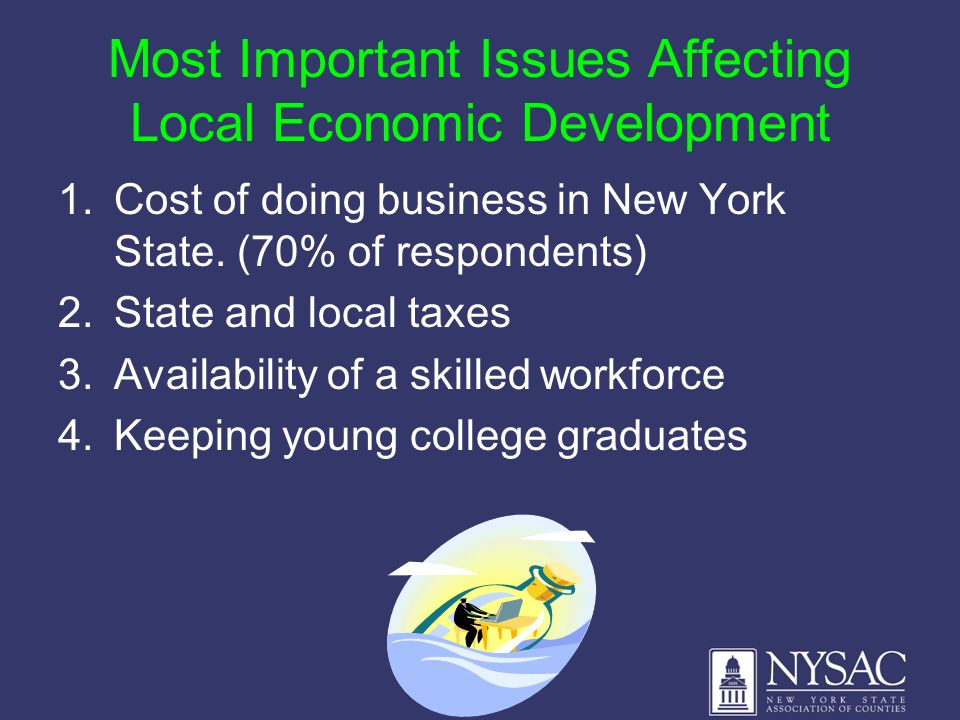 Most Important Issues Affecting Local Economic Development 1.Cost of doing business in New York State. (70% of respondents) 2.State and local taxes 3.