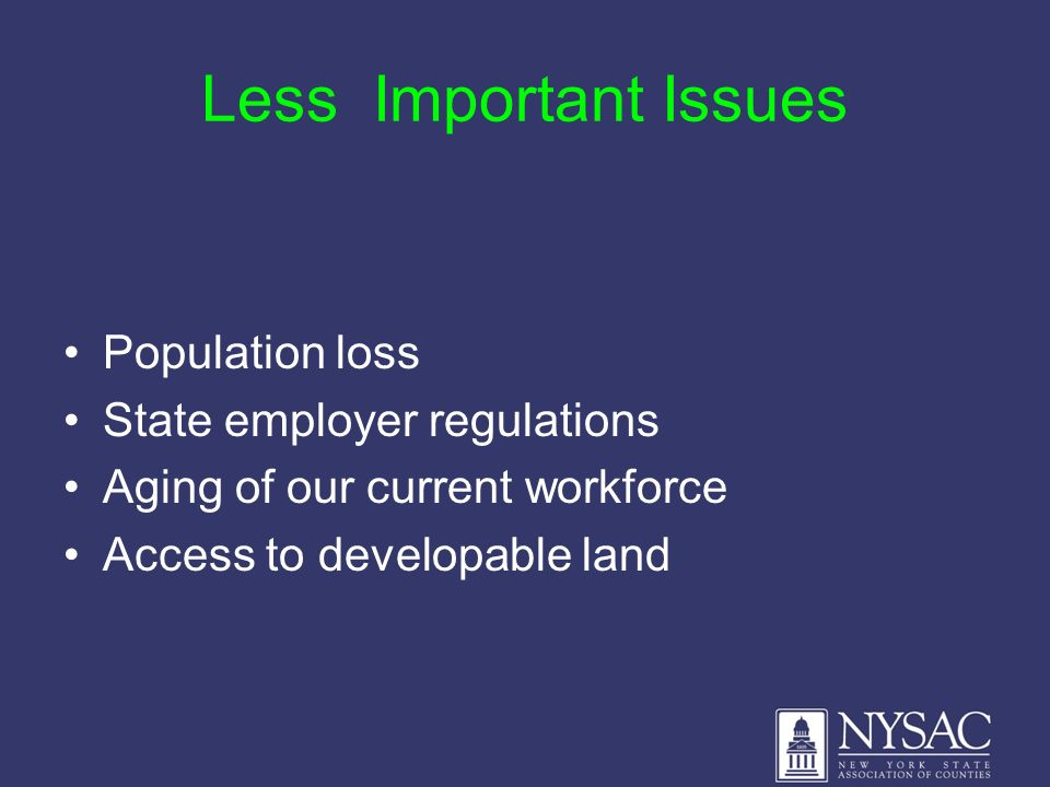 Less Important Issues Population loss State employer regulations Aging of our current workforce Access to developable land