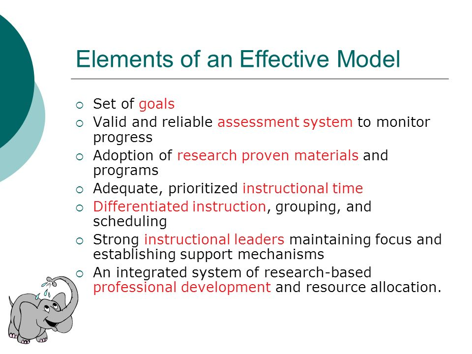 Elements of an Effective Model Set of goals Valid and reliable assessment system to monitor progress Adoption of research proven materials and program