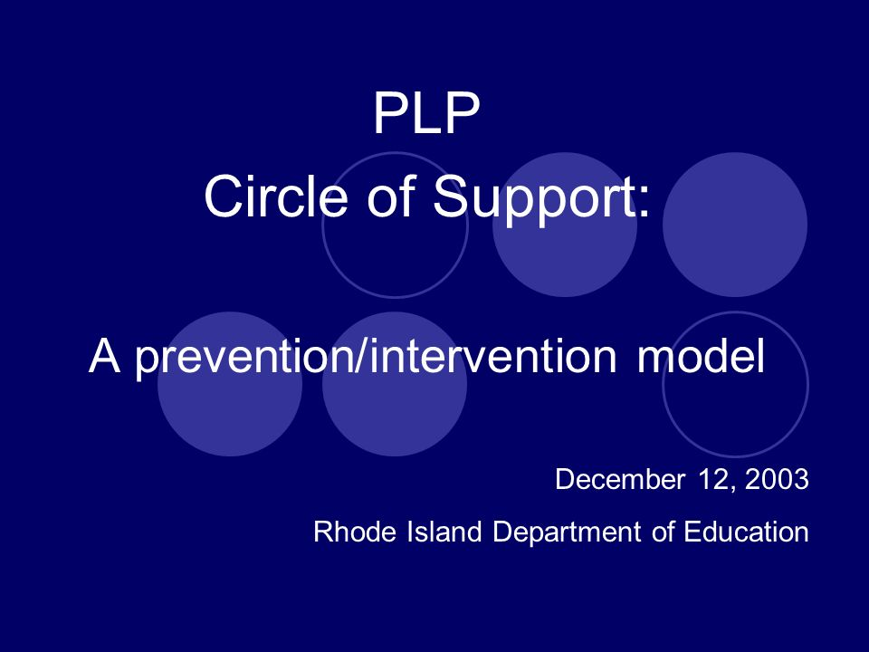 PLP Circle of Support: A prevention/intervention model December 12, 2003 Rhode Island Department of Education