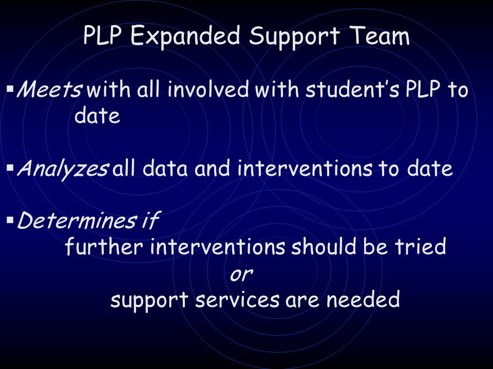PLP Expanded Support Team Meets with all involved with students PLP to date Analyzes all data and interventions to date Determines if further interventions should be tried or support services are needed