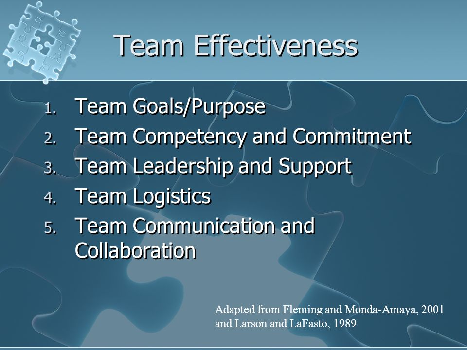 Team Effectiveness 1. Team Goals/Purpose 2. Team Competency and Commitment 3.