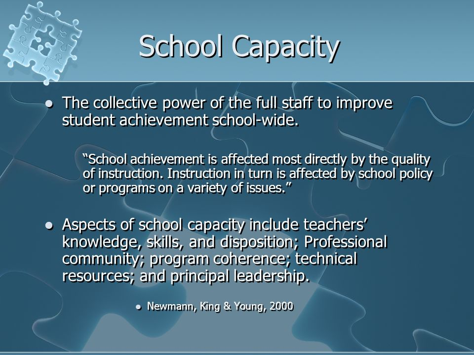 School Capacity The collective power of the full staff to improve student achievement school-wide.