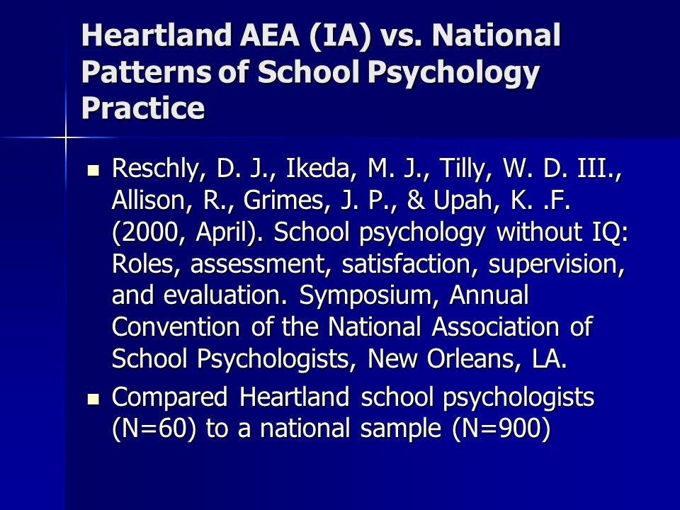 Heartland AEA (IA) vs. National Patterns of School Psychology Practice Reschly, D.