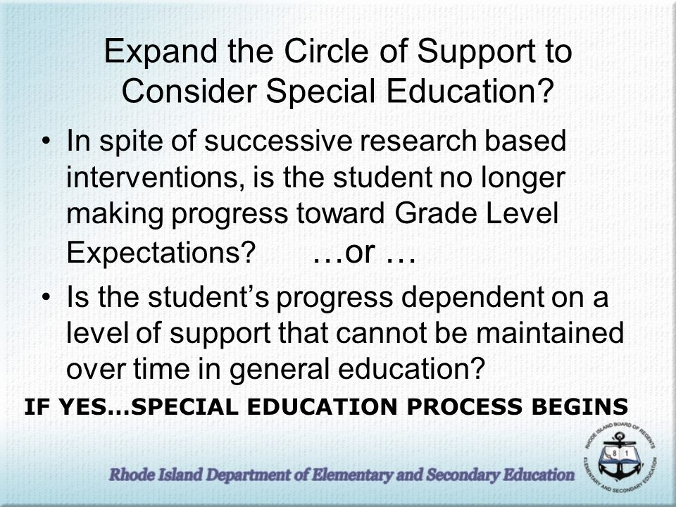 Expand the Circle of Support to Consider Special Education.