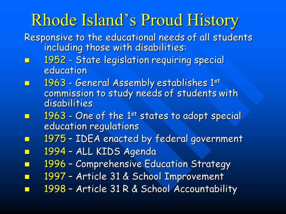 2000 - Article 23 Requires consideration of students with disabilities in RI School Improvement Children with Disabilities Study Children with Disabilities Study »To examine special education in the context of school reform »Designed to provide information about children with disabilities and their special education programs in ways that inform the strategic and school improvement process