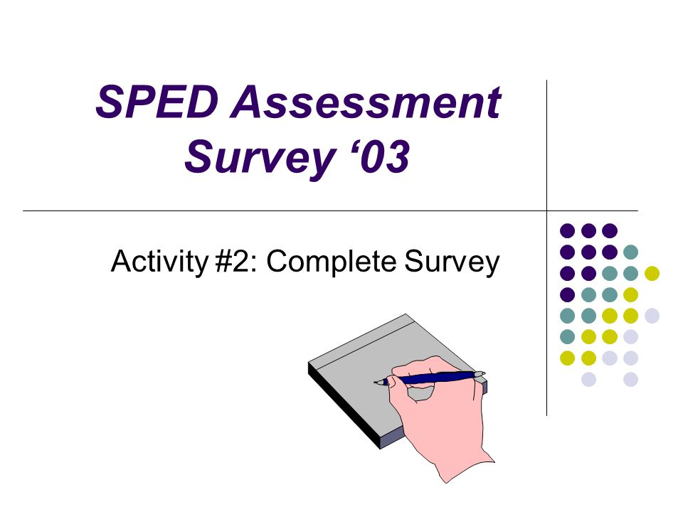 SPED Assessment Survey 03 Activity #2: Complete Survey