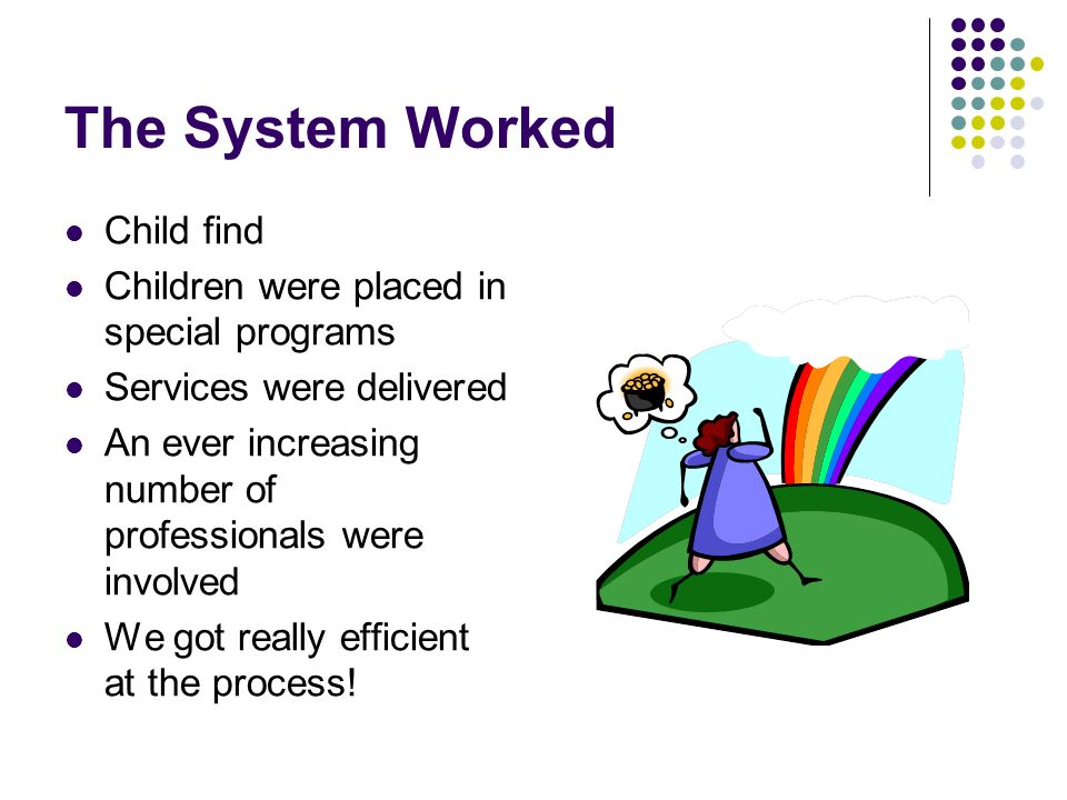 The System Worked Child find Children were placed in special programs Services were delivered An ever increasing number of professionals were involved